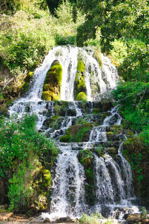 a View of the waterfalls and cascades of Skradinski Buk on the Krka river. Krka National Park, Dalmatia, Croatia