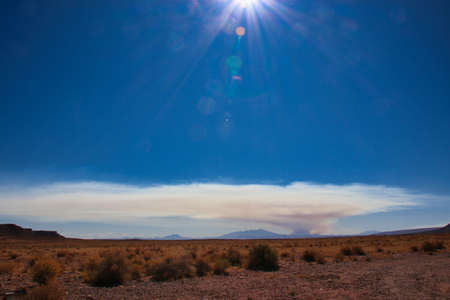 A wildfire far away in a forest, look over the desert in arizona, large smoke cloud 免版税图像
