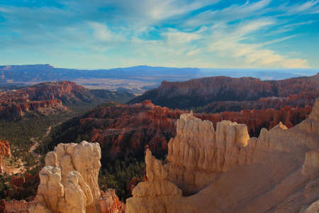 The Bryce Canyon National Park, Utah, United States fantastic red hoodoos and bright light