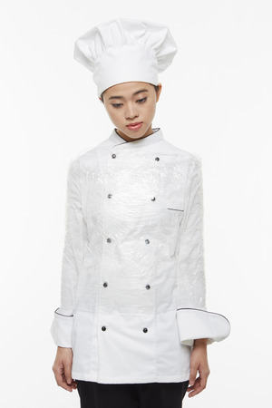 cling: Female chef tied up with a cling wrap Stock Photo