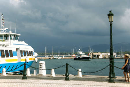 quay, lantern, boat, yacht, sea, in the daytime, France, holiday photo