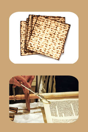 decomposed: Jewish matzah bread decomposed fan on a white background, and the Torah scroll, the hand with the pointer, beige background