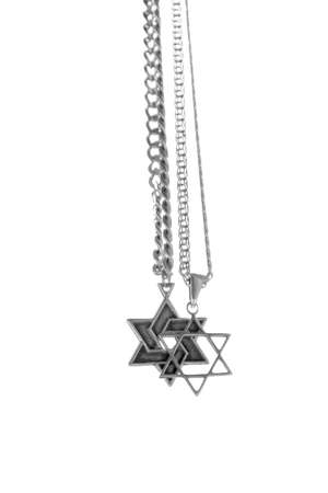 zionism: Two chains, silver six-cornered star, with the trailer of Star of David
