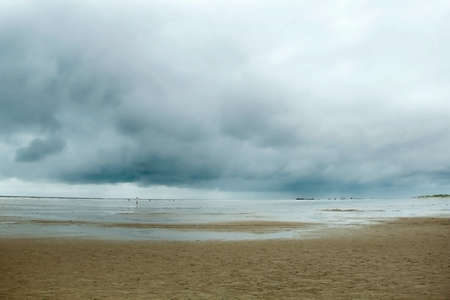 tides: Horizon by the Sea, beach, yellow sand, blue sky, clouds, tides, loading a huge container