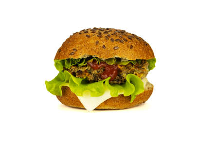 Delicious fast food, hamburger, hamburger, cheeseburger, bun witch sesam and with cheese, beef cutlet, salad and ketchup. Isolated on white. 免版税图像