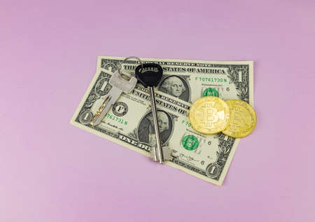 Bitcoin coins, house keys on a pink background. Selective focus. Concept for selling, renting, buying a house, investment.