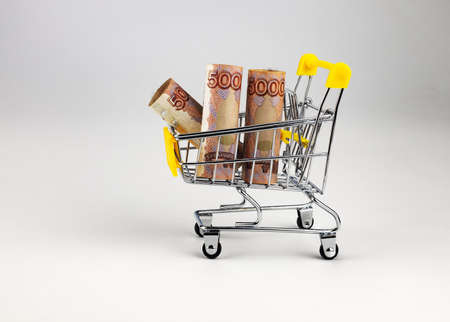 toy shopping cart with 5000 rubles bills on white background