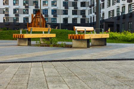 Russia, modern buildings, children's Playground. 免版税图像