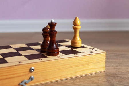 Chess board with figures for the game. Close-up