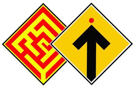 Traffic Signs DETOUR & GO AHEAD! Stock Photo