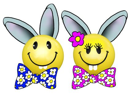 Easter Bunny Twins Stock Photo