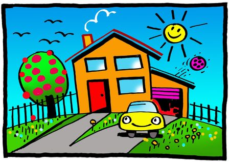 Cartoon of  family house with tree and car and sunshine photo