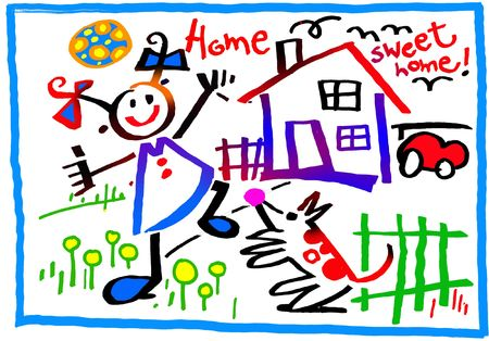 home for sale: Home, playful child and dog, garage (on white)
