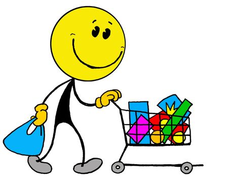 direct sale: Smiley... shopping cart Stock Photo