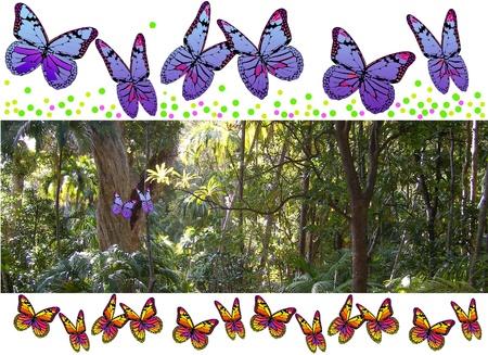 Jungle blauwe vlinders