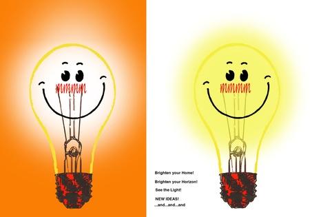 Smily Lightbulbs  Lighten Up   Stock Photo