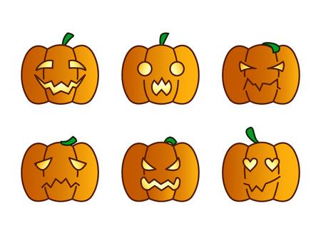 set of pumpkin emoji Vector illustration.