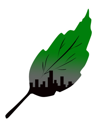 leaf and city double exposure Vector illustration. Çizim