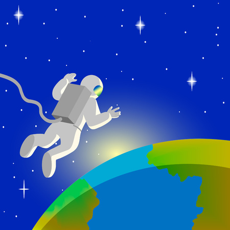 cosmonaut in open space Vector illustration. Illustration