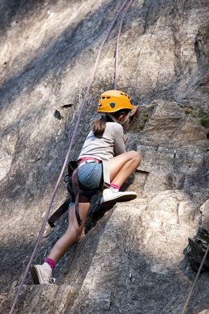 jeune: Child climbing in the french Alps, Areches, France