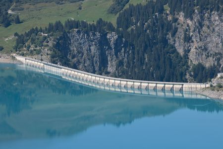 retained: dam in the french alps, areches Stock Photo