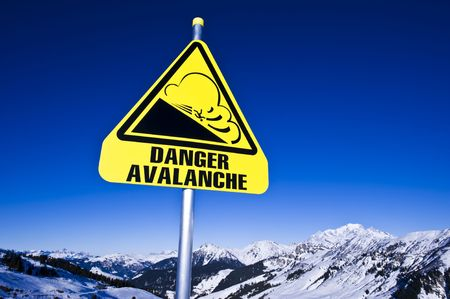 ski track: avalanche sign on ski station,  french alps, areches Stock Photo