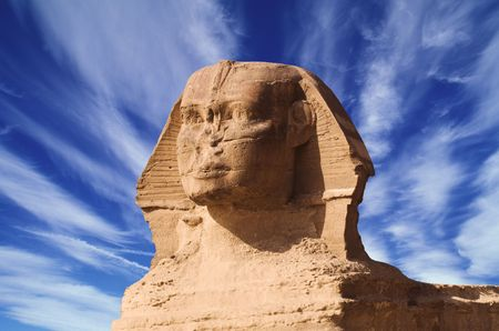 africa antique: sphinx of gizeh, egypt Stock Photo
