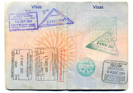 Pasaporte, tampones, visas, viajes Foto de archivo - 10889287