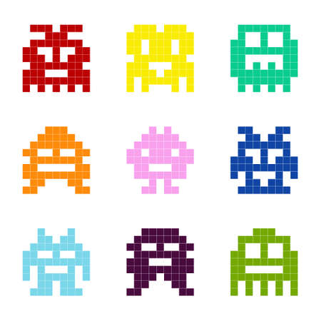 Set of monochrome icons with pixel monsters for your design