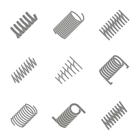 set of monochrome icons with springs for your design Stock Vector - 104582516