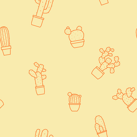 Seamless pattern with cactus for your design