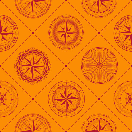 Seamless pattern with a compass rose for your design