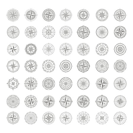 vector icons with compass rose for your design 일러스트
