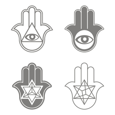 vector icon with kabbalah symbol hamsa for your design Ilustração