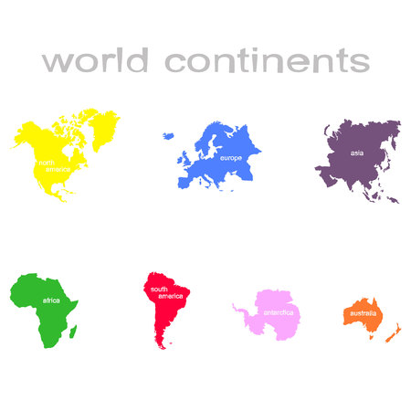 World map with continent in different color Illusztráció