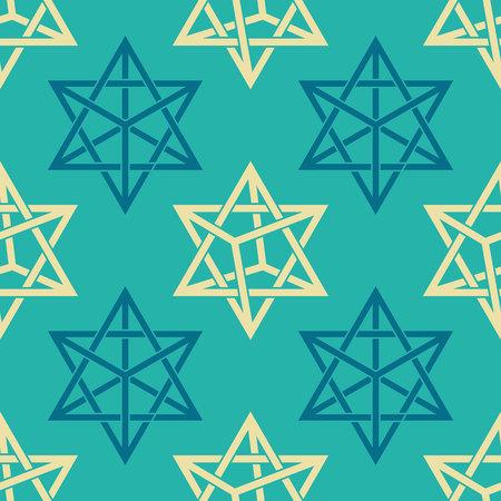 Seamless pattern with Merkabah kabbalah symbol for your design