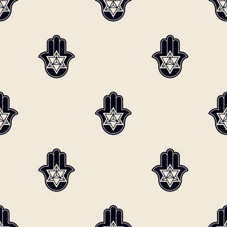 Seamless pattern with Hamsa Kabbalah symbol for your design Illusztráció