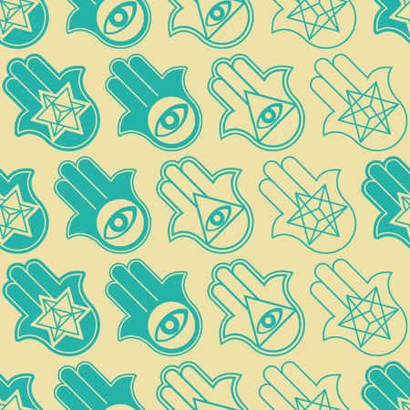 Seamless pattern with Hamsa Kabbalah symbol for your design Illustration