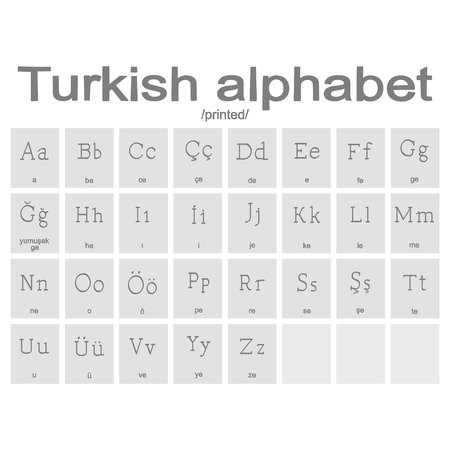 Set of monochrome icons with Turkish alphabet for your design Stock Illustratie