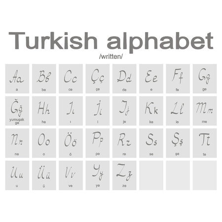 Set of monochrome icons with Turkish alphabet for your design Illustration