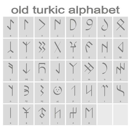 Ensemble d'icônes monochromes avec l'ancien alphabet turc pour votre conception Vecteurs