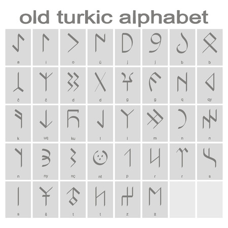 Set of monochrome icons with old Turkic alphabet for your design