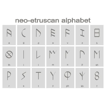 Set of monochrome icons with Etruscan alphabet for your design Ilustração
