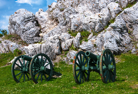 guns standing next to a large stone on a green hill for your design