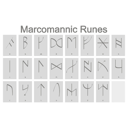 Set of monochrome icons with Runic alphabet for your design Illustration