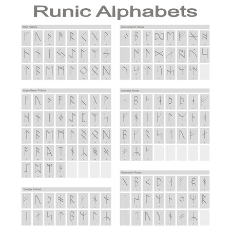 Set of monochrome icons with Runic alphabet for your design 일러스트