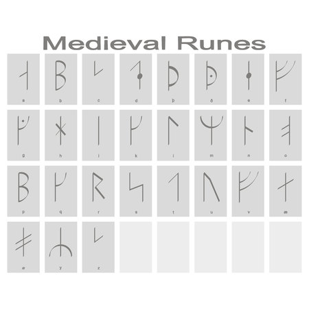 Set of monochrome icons with Runic alphabet for your design  イラスト・ベクター素材
