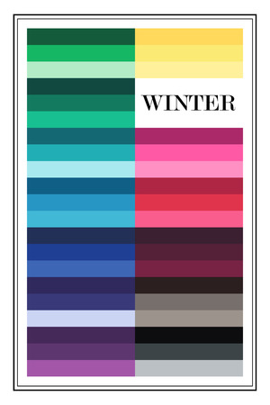 Stock vector color guide. Seasonal color analysis palette for winter type.