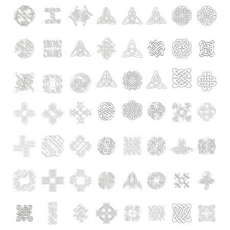 monochromes Icon-Set mit keltischen Knoten für Ihr Design