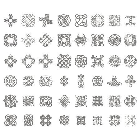 Conjunto de iconos monocromos con nudos celtas para su diseño Ilustración de vector